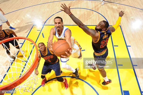 Shaun Livingston of the Golden State Warriors shoots against LeBron James of the Cleveland Cavaliers during Game Five of the 2015 NBA Finals at...