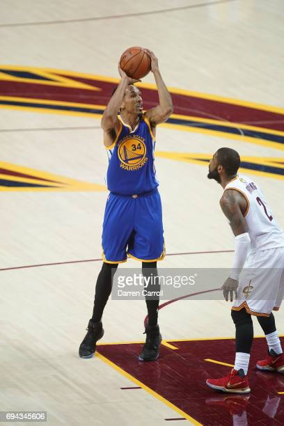 Shaun Livingston of the Golden State Warriors shoots the ball against the Cleveland Cavaliers in Game Four of the 2017 NBA Finals on June 9 2017 at...