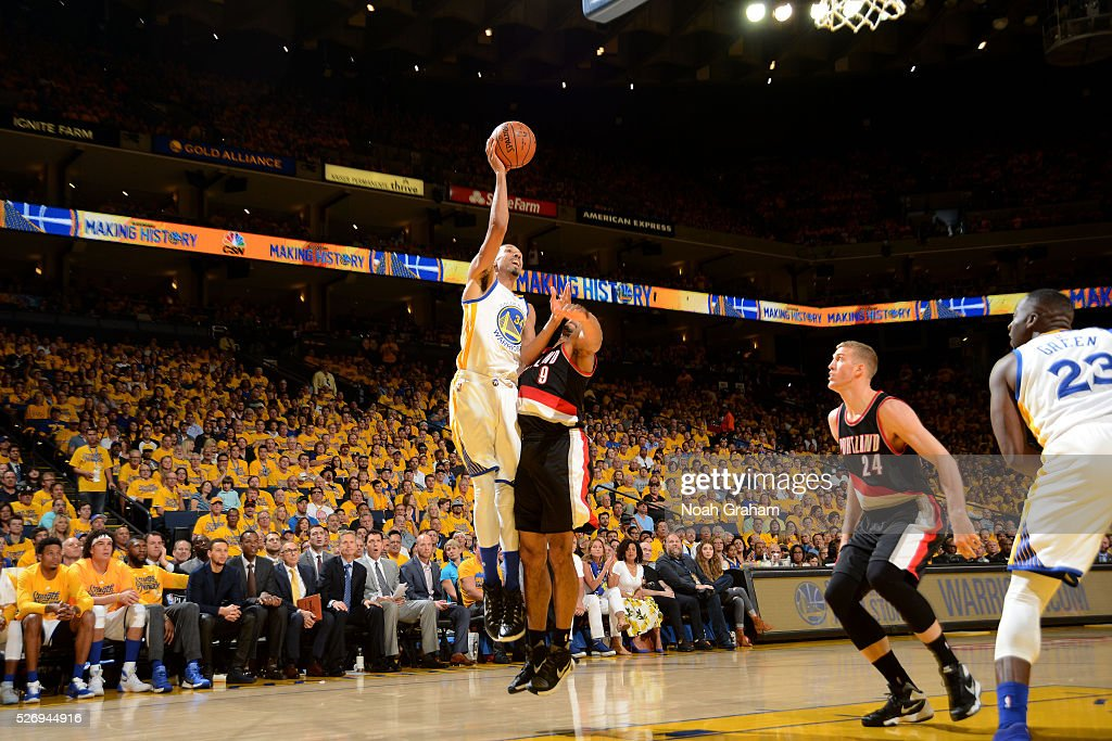 Shaun Livingston #34 of the Golden State Warriors shoots the ball during the game against the Portland Trail Blazers in Game One of the Western Conference Semifinals during the 2016 NBA Playoffs on May 1, 2016 at ORACLE Arena in Oakland, California.