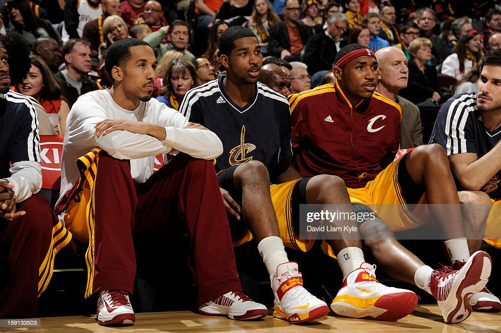 Shaun Livingston #14, Tristan Thompson #13 and Kevin Jones #5 of the Cleveland Cavaliers takes in the game on the bench against the Houston Rockets at The Quicken Loans Arena on January 5, 2013 in Cleveland, Ohio.