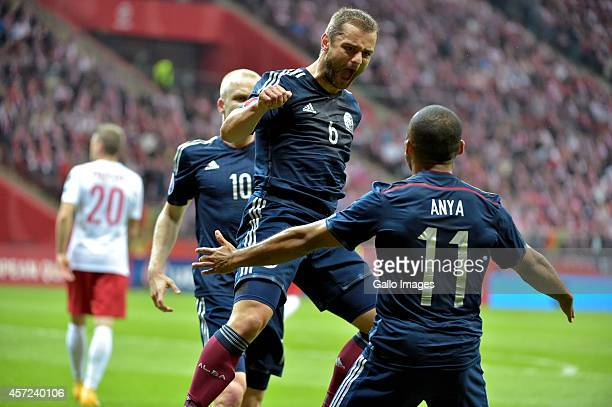 Shaun Maloney celebrating a goal for Scotland during the UEFA Euro 2016 Qualifying Round match between Poland and Scotland at the National Stadium on...