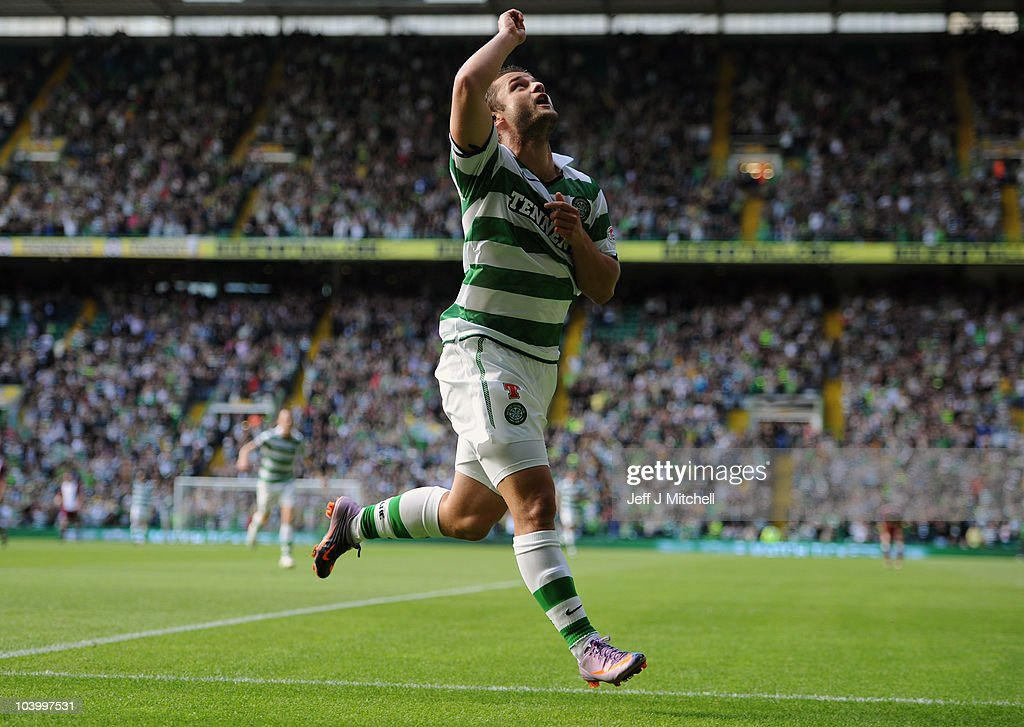 Shaun Maloney of Celtic celebrates after scoring during the Clydesdale Bank Premier League match between Celtic and Hearts at Celtic Park on September 11, 2010 in Glasgow, Scotland.