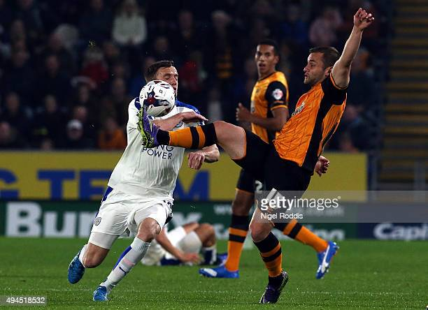 Shaun Maloney of Hull City challenges Andy King of Leicester City during the Capital One Cup Fourth Round match between Hull City and Leicester City...