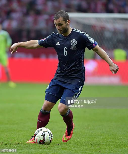 Shaun Maloney of Scotland during the UEFA Euro 2016 Qualifying Round match between Poland and Scotland at the National Stadium on October 14 2014 in...
