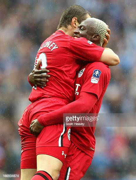 Shaun Maloney of Wigan Athletic celebrates scoring the opening goal with team mate Arouna Kone during the FA Cup with Budweiser Semi Final match...