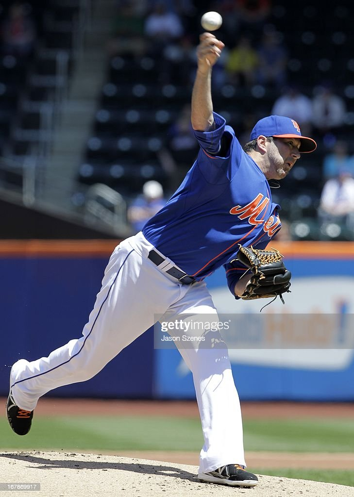 Shaun Marcum #38 of the New York Mets pitches against the Philadelphia Phillies at Citi Field on April 27, 2013 in the Flushing neighborhood of the Queens borough of New York City. (Photo by Jason Szenes/Getty Images