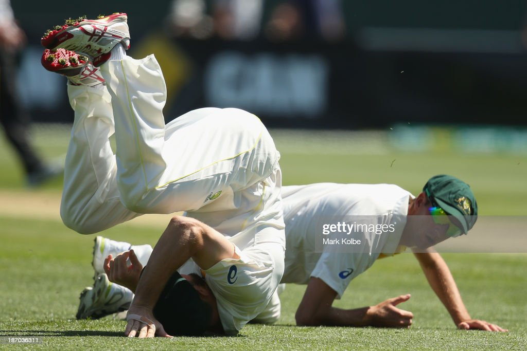 <a gi-track='captionPersonalityLinkClicked' href=/galleries/search?phrase=Shaun+Marsh+-+Cricket+Player&family=editorial&specificpeople=236104 ng-click='$event.stopPropagation()'>Shaun Marsh</a> and Trent Copeland of Australia A dive to try and take a catch during day one of the tour match between Australia A and England at Blundstone Arena on November 6, 2013 in Hobart, Australia.
