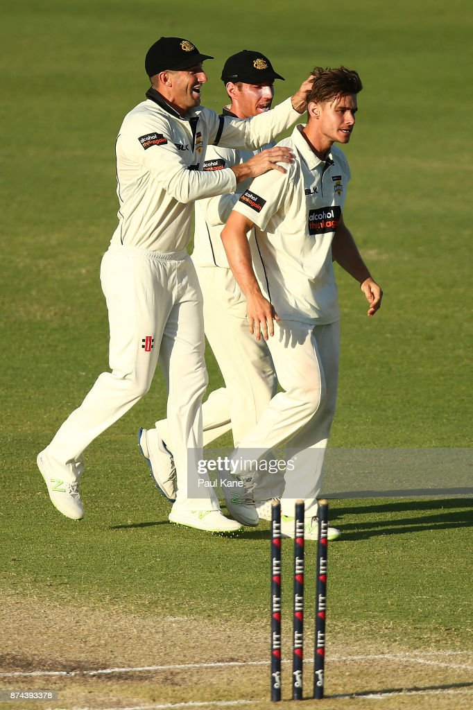 Shaun Marsh and Will Bosisto of Western Australia congratulate Andrew Holder after dismissing John Dalton of South Australia during day three of the Sheffield Shield match between Western Australia and South Australia at WACA on November 15, 2017 in Perth, Australia.