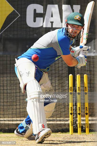 Shaun Marsh hits the ball during an Australian nets session at the Melbourne Cricket Ground on December 23 2015 in Melbourne Australia
