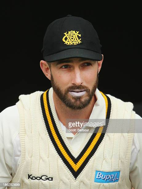 Shaun Marsh leads Western Australia onto the field during day one of the Sheffield Shield match between the Victoria Bushrangers and the Western...