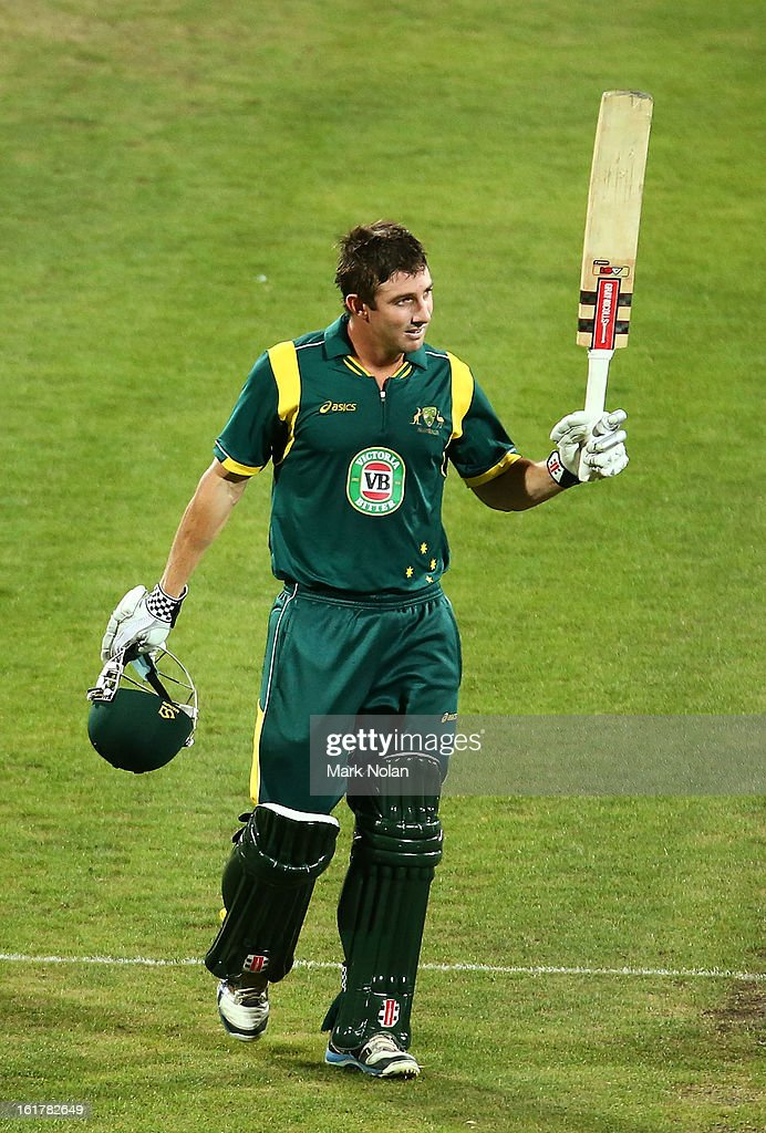 <a gi-track='captionPersonalityLinkClicked' href=/galleries/search?phrase=Shaun+Marsh+-+Cricket+Player&family=editorial&specificpeople=236104 ng-click='$event.stopPropagation()'>Shaun Marsh</a> of Australia A Celebrates a century during the international tour match between Australia 'A' and the England Lions at Blundstone Arena on February 16, 2013 in Hobart, Australia.