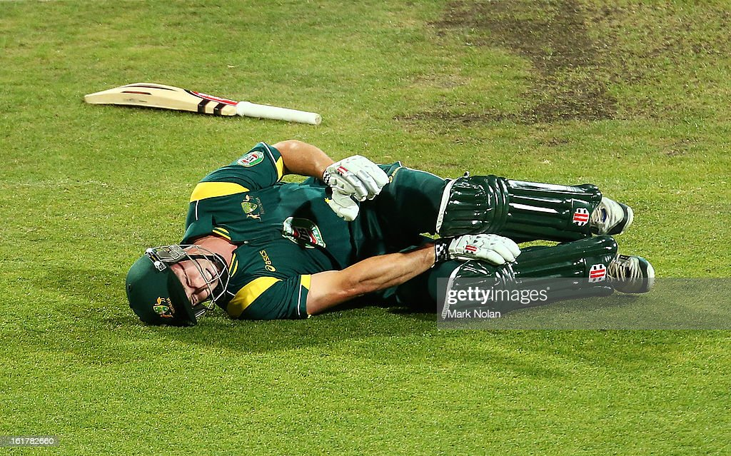 <a gi-track='captionPersonalityLinkClicked' href=/galleries/search?phrase=Shaun+Marsh+-+Cricket+Player&family=editorial&specificpeople=236104 ng-click='$event.stopPropagation()'>Shaun Marsh</a> of Australia A falls to the ground and clutches his right knee while taking a single during the international tour match between Australia 'A' and the England Lions at Blundstone Arena on February 16, 2013 in Hobart, Australia.