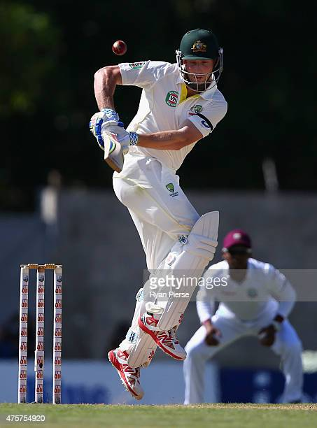 Shaun Marsh of Australia bats during day one of the First Test match between Australia and the West Indies at Windsor Park on June 3 2015 in Roseau...