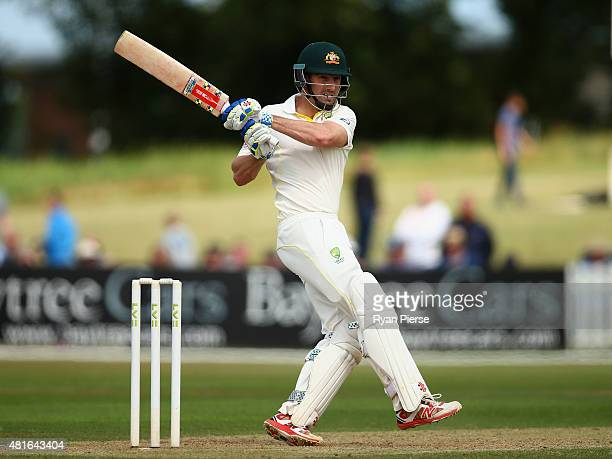 Shaun Marsh of Australia bats during Day One of the Tour Match between Derbyshire and Australia at The 3aaa County Ground on July 23 2015 in Derby...