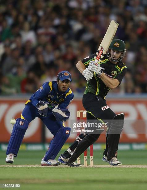 Shaun Marsh of Australia bats during game two of the Twenty20 International series between Australia and Sri Lanka at the Melbourne Cricket Ground on...