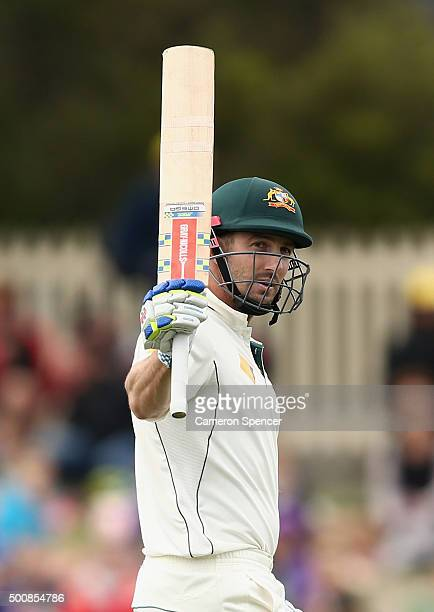 Shaun Marsh of Australia celebrates scoring a150 runs during day two of the First Test match between Australia and the West Indies at Blundstone...