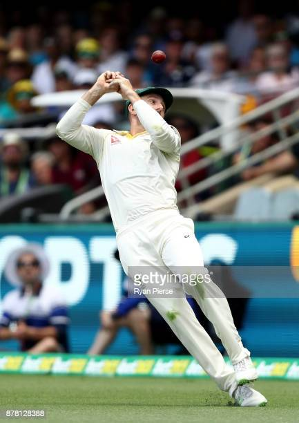 Shaun Marsh of Australia drops a catch during day two of the First Test Match of the 2017/18 Ashes Series between Australia and England at The Gabba...