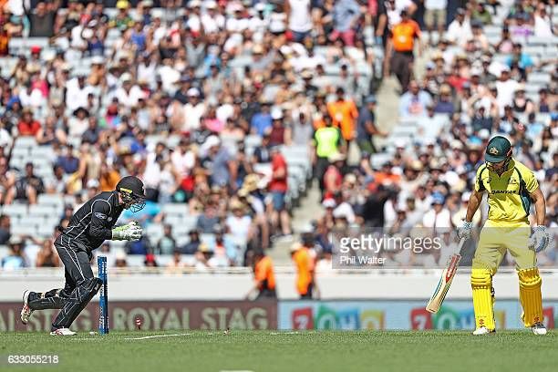 Shaun Marsh of Australia is stumped by Tom Latham of New Zealand during the first One Day International game between New Zealand and Australia at...
