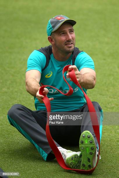 Shaun Marsh of Australia look son while warming up during an Australian nets session at WACA on December 11 2017 in Perth Australia
