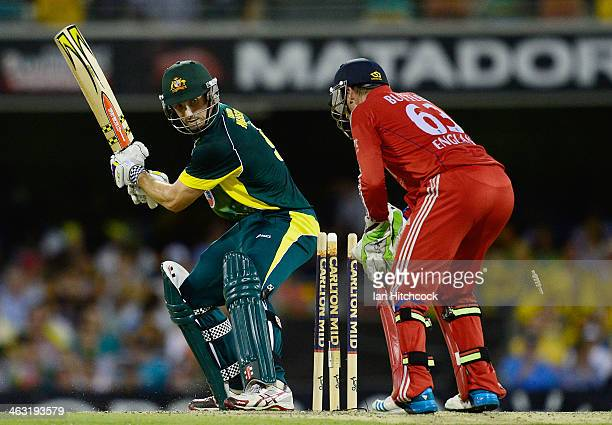 Shaun Marsh of Australia looks back at his stumps after being bowled by Joe Root of England during the second game of the One Day International...