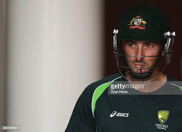 Shaun Marsh of Australia prepares to bat during an Australian nets session at Adelaide Oval on December 7 2014 in Adelaide Australia