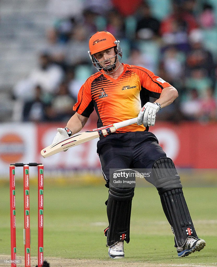 <a gi-track='captionPersonalityLinkClicked' href=/galleries/search?phrase=Shaun+Marsh+-+Cricket+Player&family=editorial&specificpeople=236104 ng-click='$event.stopPropagation()'>Shaun Marsh</a> of Perth Scorcher in action during the Karbonn Smart CLT20 match between Kolkata Knight Riders and Perth Scorchers at Sahara Stadium Kingsmead on October 17, 2012 in Durban, South Africa.