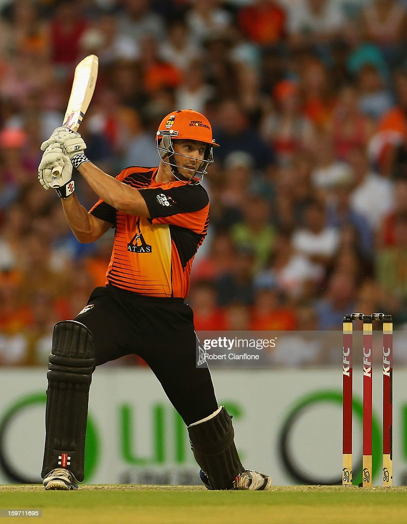 Shaun Marsh of the Scorchers bats during the Big Bash League final match between the Perth Scorchers and the Brisbane Heat at the WACA on January 19, 2013 in Perth, Australia.