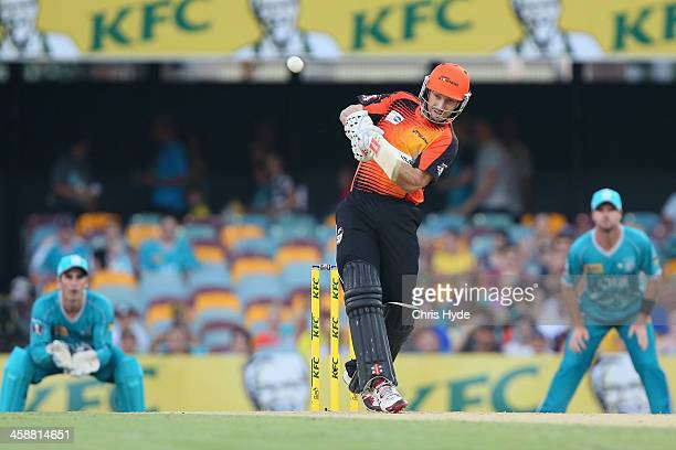 Shaun Marsh of the Scorchers bats during the Big Bash League match between the Brisbane Heat and the Perth Scorchers at The Gabba on December 22 2013...