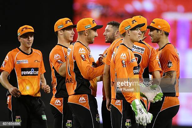 Shaun Marsh of the Scorchers celebrates after taking a catch to dismiss Rob Quiney of the Stars off the bowling of Tim Bresnan of the Scorchers...