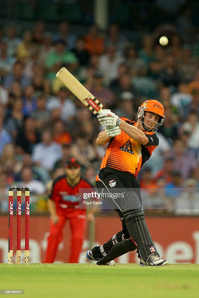 <a gi-track='captionPersonalityLinkClicked' href=/galleries/search?phrase=Shaun+Marsh+-+Cricket+Player&family=editorial&specificpeople=236104 ng-click='$event.stopPropagation()'>Shaun Marsh</a> of the Scorchers hits out during the Big Bash League match between the Perth Scorchers and the Melbourne Renegads at WACA on December 29, 2012 in Perth, Australia.