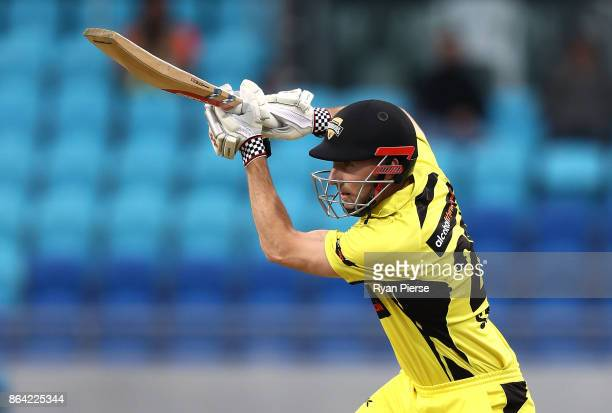 Shaun Marsh of the Warriors bats during the JLT One Day Cup Final match between Western Australia and South Australia at Blundstone Arena on October...