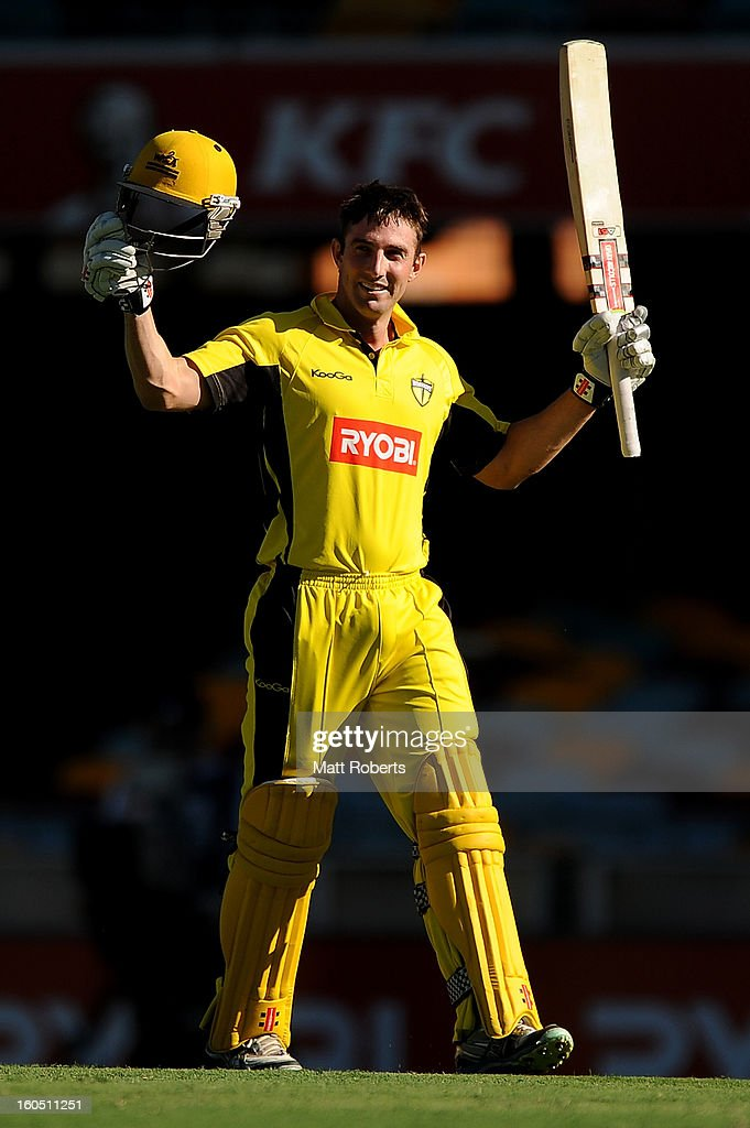Shaun Marsh of the Warriors celebrates his century during the Ryobi One Day Cup match between the Queensland Bulls and the Western Australia Warriors at The Gabba on February 2, 2013 in Brisbane, Australia.