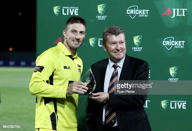 Shaun Marsh of the Warriors is awarded the player of the series award during the JLT One Day Cup Final match between Western Australia and South...