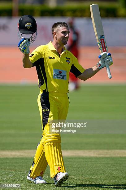 Shaun Marsh of Western Australia celebrates after reaching his century during the Matador BBQs One Day Cup match between South Australia and Western...