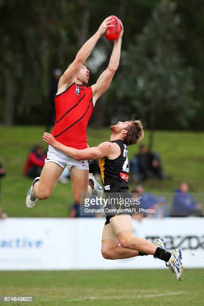 Shaun Mckernan of Essendon takes a mark during the round three VFL match between Werribee and Essendon at North Melbourne Recreation Reserve on April...