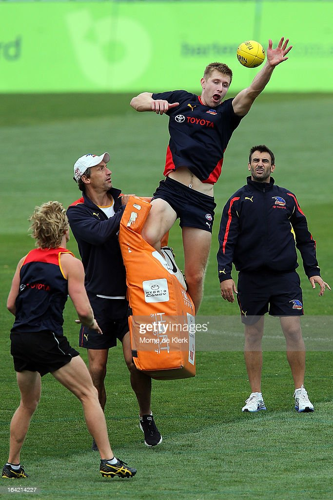 Shaun McKernan pratices in the ruck during an Adelaide Crows AFL training session at AAMI Stadium on March 21, 2013 in Adelaide, Australia.