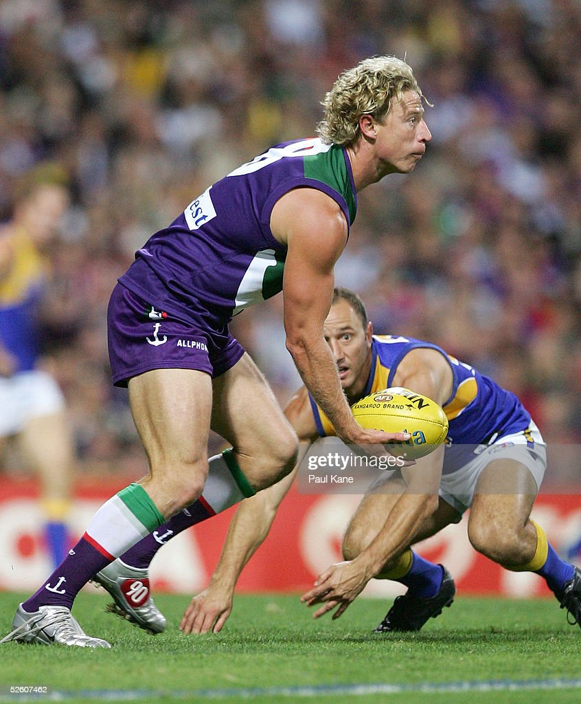 Shaun McManus of the Dockers in action during the round three 'Western Derby' AFL match between the West Coast Eagles and Fremantle Dockers at...