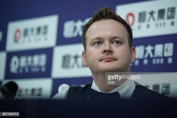 Shaun Murphy of England attends a press conference after the final match against Luca Brecel of Belgium on day seven of Evergrande 2017 World Snooker...
