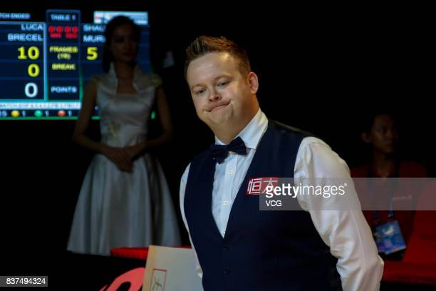 Shaun Murphy of England attends awarding ceremony after the final match against Luca Brecel of Belgium on day seven of Evergrande 2017 World Snooker...
