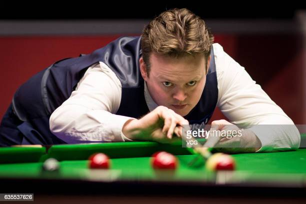 Shaun Murphy of England plays a shot in his second round match against Josh Boileau of Ireland on day three of the 2017 Coral Welsh Open at the...