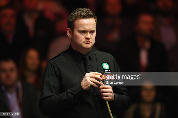 Shaun Murphy of Great Britain looks on during the final of the Dafabet Masters at Alexandra Palace on January 18 2015 in London England
