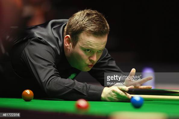 Shaun Murphy of Great Britain reacts during the final of the Dafabet Masters at Alexandra Palace on January 18 2015 in London England