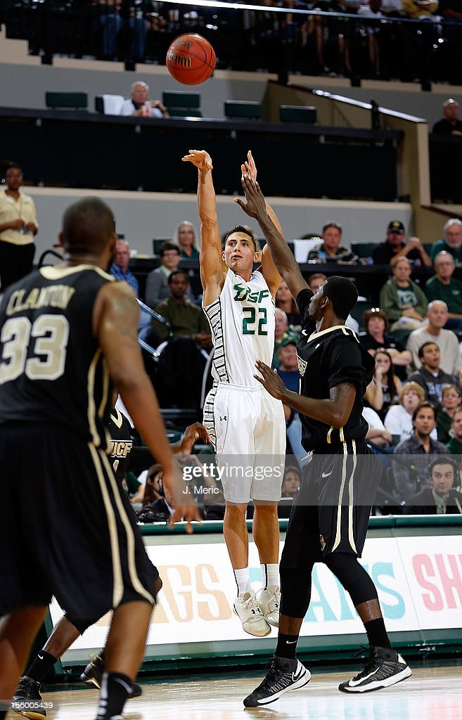 Shaun Noriega #22 of the South Florida Bulls shoots against the Central Florida Knights during the game at the Sun Dome on November 10, 2012 in Tampa, Florida.