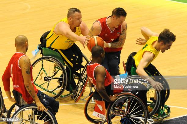 Shaun Norris of Australia and Terence Bywater of Great Britain compete for the ball during the Wheelchair Basketball World Challenge Cup final...