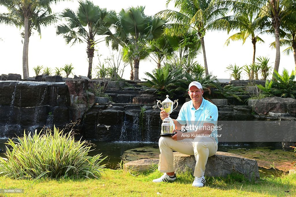 Shaun Norris of South Africa pose with the trophy after winning the Leopalace21 Myanmar Open at Royal Mingalardon Golf and Country Club on February 7, 2016 in Yangon, Myanmar.