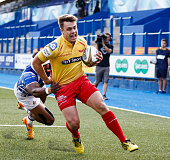 Shaun Pearce of Scarlets scores his sides second try during the Singha Premiership Rugby 7's Group A match between the Scarlets 7's v Newport Gwent...