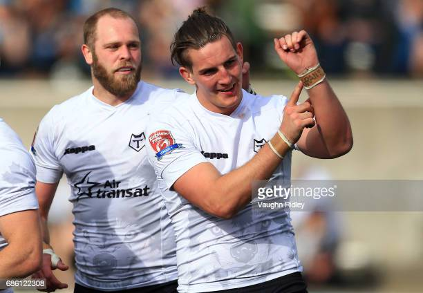 Shaun Pick of Toronto Wolfpack signals to his Gran after scoring a try in the second half of a Kingstone Press League 1 match against Barrow Raiders...