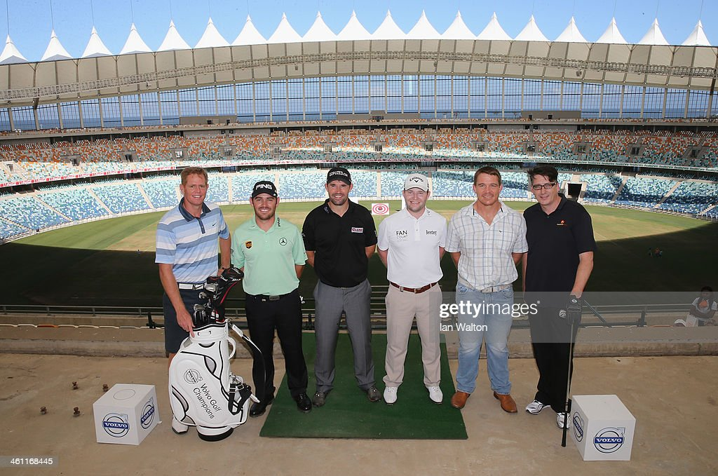 Shaun Pollock, Louis Oosthuizen of South Africa, Padraig Harrington of Ireland, Branden Grace of South Africa and John Smith of South Africa pose during the Volvo Golf Champions Moses Mabhida Stadium Challenge at the 2014 Volvo Golf Chamions at Durban Country Club on January 7, 2014 in Durban, South Africa.