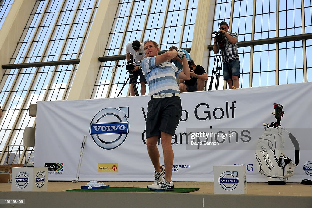 Shaun Pollock of South Africa the former Cricketer hits a shot during The Volvo Golf Champions Moses Mabhida Stadium Challenge as a preview for the 2014 Volvo Golf Champions tournament at Durban Country Club on January 7, 2014 in Durban, South Africa.