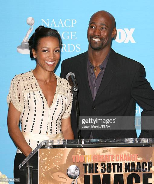 Shaun Robinson and DB Woodside during The '38th Annual NAACP Image Awards' Nominations at The Peninsula Hotel in Beverly Hills California United...